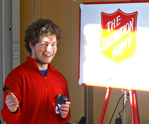 """At Burnstads on December seventh, student senate president Joseph Barnett spends his Saturday bell ringing for The Salvation Army. Students involved in student senate decided that volunteering was something they were interested in doing this year. """"It's not really why would I want to volunteer, it's why wouldn't I want to,"""" said Barnett."""