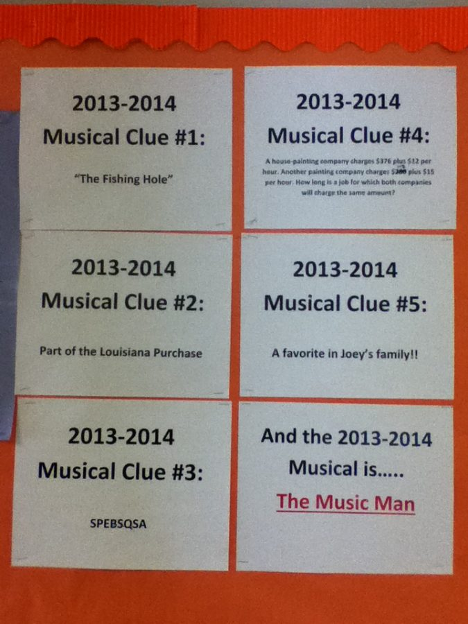 Clues were placed outside of Laura Christenson's and Gillian Pacetti's rooms as a game to figure out the 2013-2014 musical.  The musical is The Music Man.