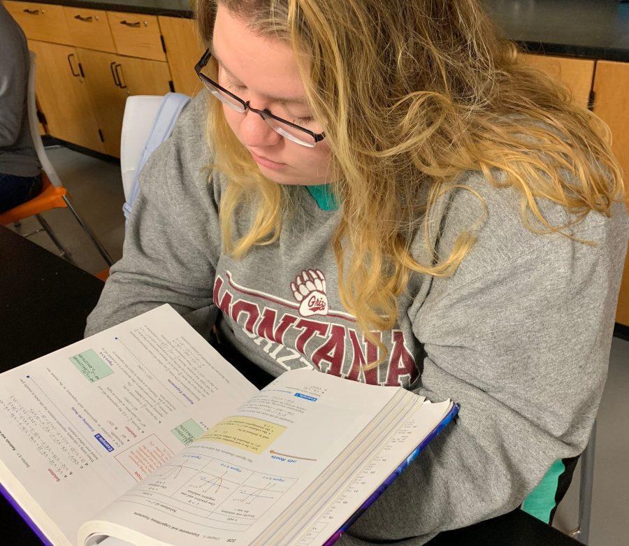 Laura Hefty studies for an AP class.